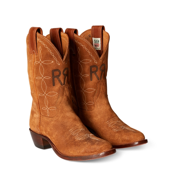 Ralph Lauren Plainview Suede Cowboy Boot Light Java 6.5