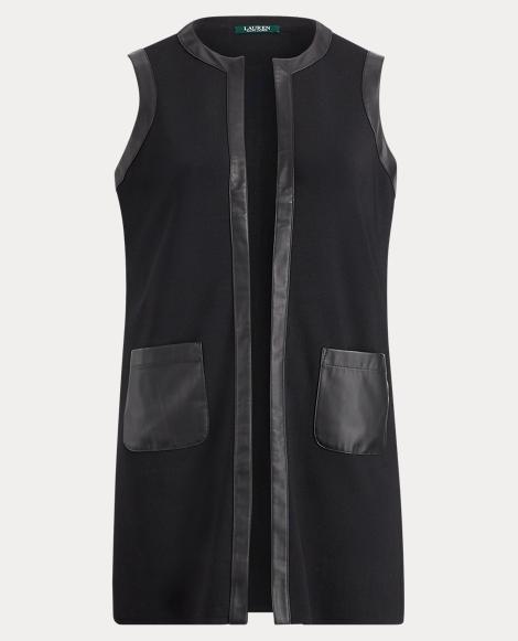 Faux Leather-Trim Vest