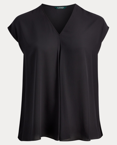 Pleated-Front Georgette Blouse