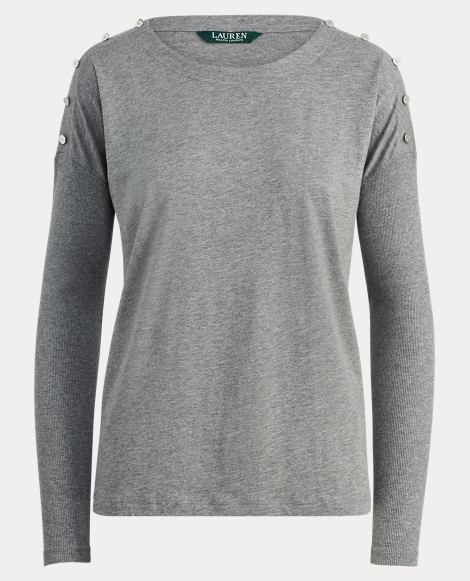 Button-Shoulder Jersey Shirt