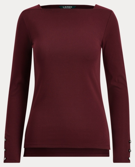 Button-Trim Boatneck Top