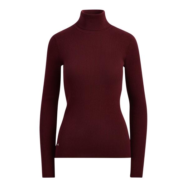 Ralph Lauren Ribbed Turtleneck Sweater Red Sangria S