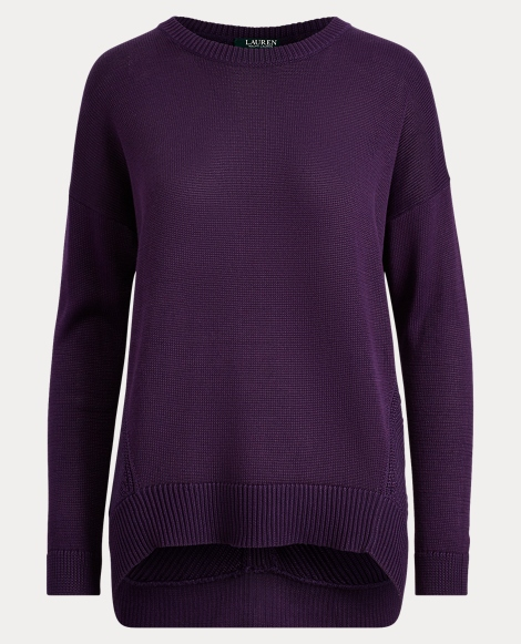 High-Low Cotton-Blend Sweater