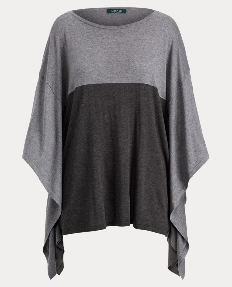 Color-Blocked Poncho Sweater