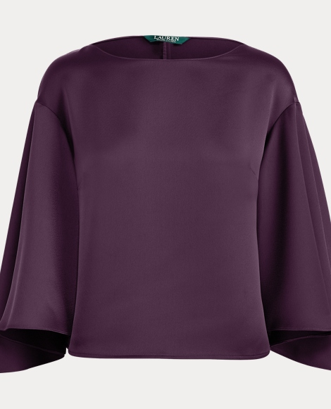 Satin Flutter-Sleeve Blouse