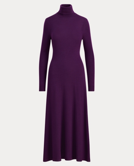 Turtleneck Fit-and-Flare Dress