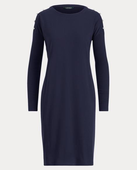 Button-Trim Jersey Dress
