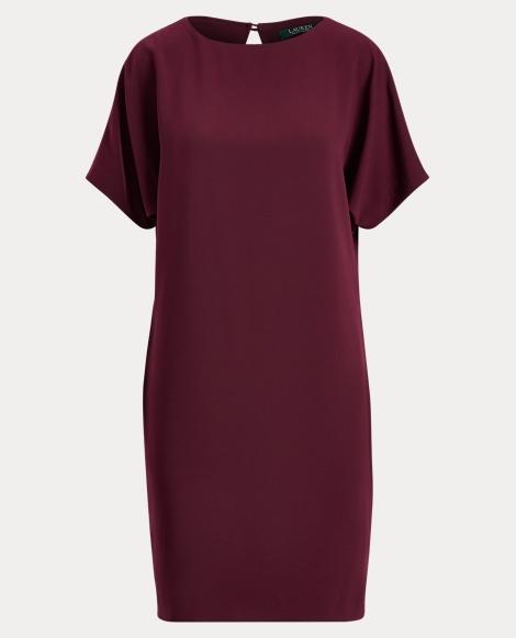 Back-Pleated Twill Shift Dress