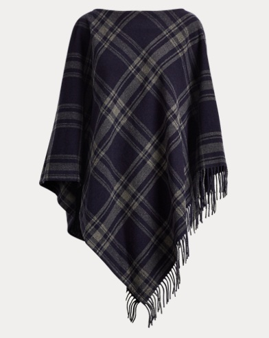 Plaid Merino Poncho Sweater