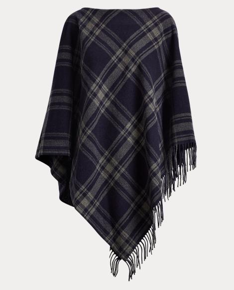 Plaid Merino Poncho Sweater