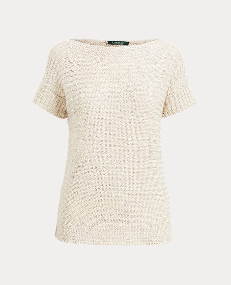 Boatneck Short-Sleeve Sweater