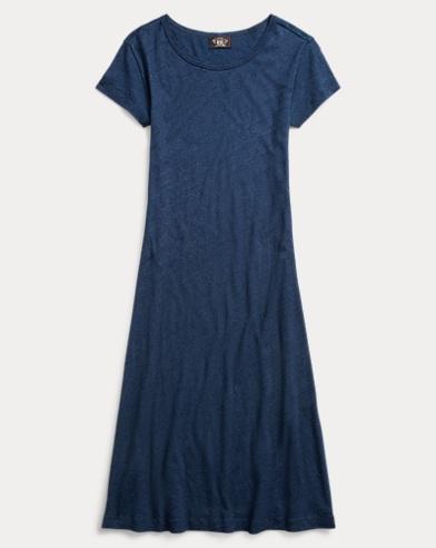 Indigo Cotton-Linen Dress