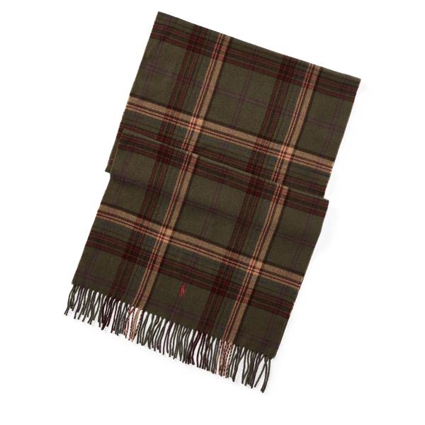 Ralph Lauren Plaid Wool Blanket Scarf Deep Loden One Size