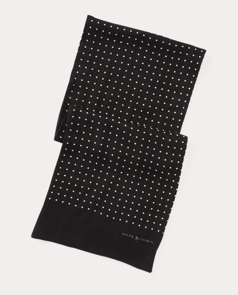 Dot-Print Wool Challis Scarf