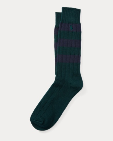 Rugby-Stripe Cotton Boot Socks