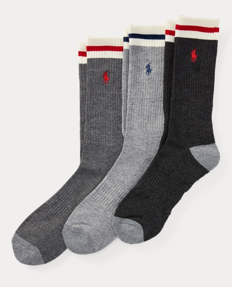 Striped-Cuff Crew Sock 3-Pack