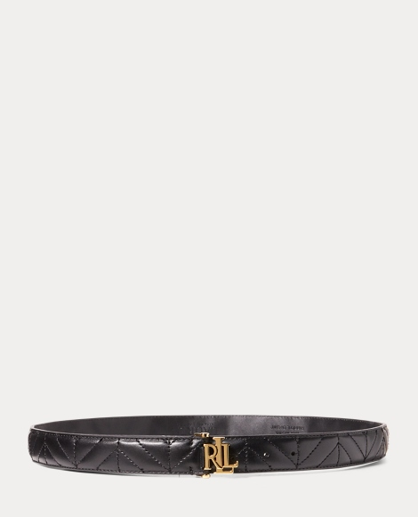 Chevron-Quilted Leather Belt