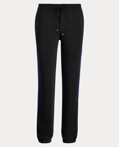 Striped Crepe Track Pant
