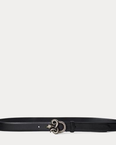 Snake-Buckle Calfskin Belt