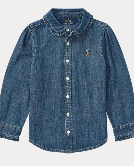 Ruffled Cotton Chambray Shirt