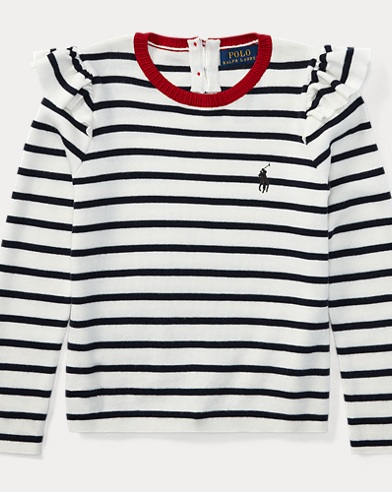 Ruffled Striped Cotton Sweater
