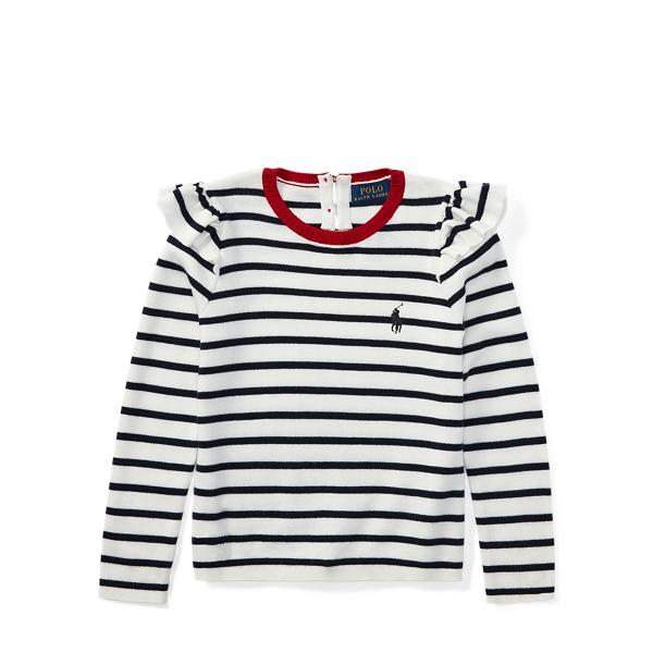 Ralph Lauren Ruffled Striped Cotton Sweater Cream/Navy 4T