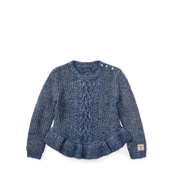 Ralph Lauren Aran Cotton Peplum Sweater Denim Blue Heather 6