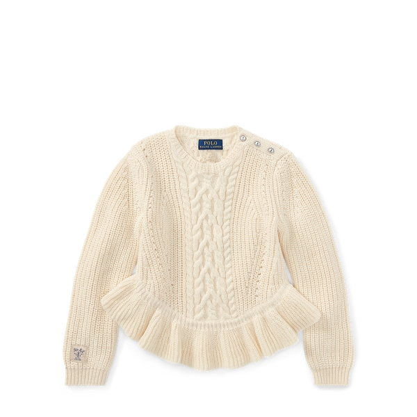 Ralph Lauren Aran Cotton Peplum Sweater Cream 3T