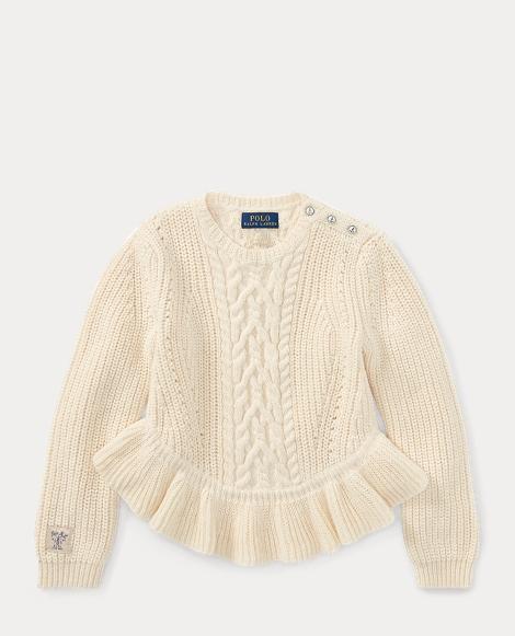 Aran Cotton Peplum Sweater