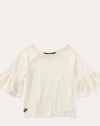 Ruffle-Sleeve Cotton Top