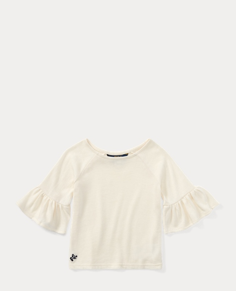 Ruffle-Sleeve Cotton Top