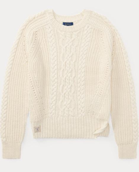 Aran-Knit Cotton-Blend Sweater