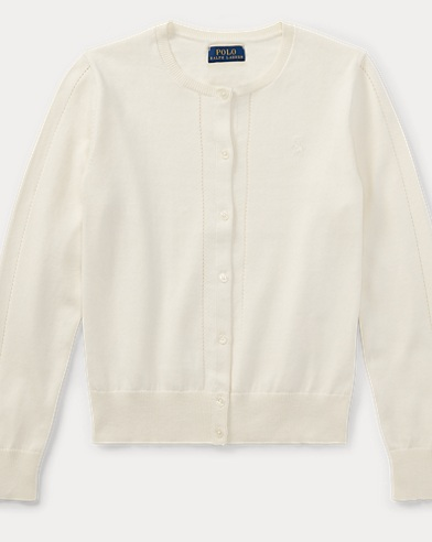 Pointelle-Trim Cotton Cardigan