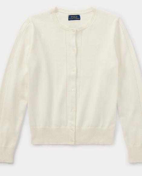 Pointelle-Trim Cotton Cardigan