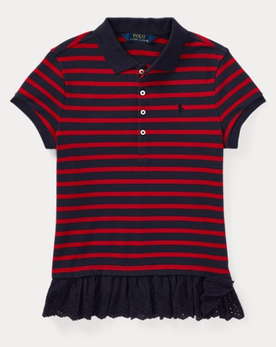 Eyelet-Hem Stripe Polo Shirt