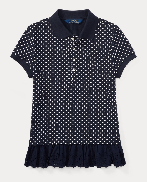 Polka-Dot Peplum Polo Shirt