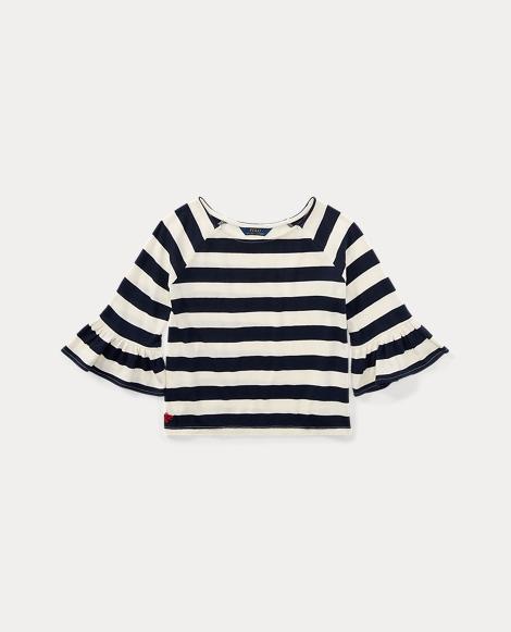 Striped Ruffle-Sleeve Top