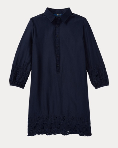 Eyelet Challis Shirtdress