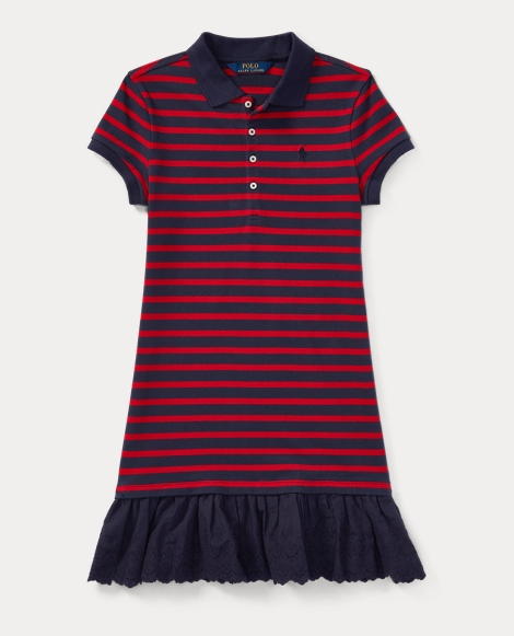 Eyelet-Hem Striped Polo Dress