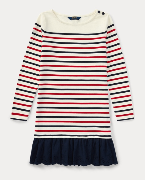 Eyelet-Hem Stripe Cotton Dress