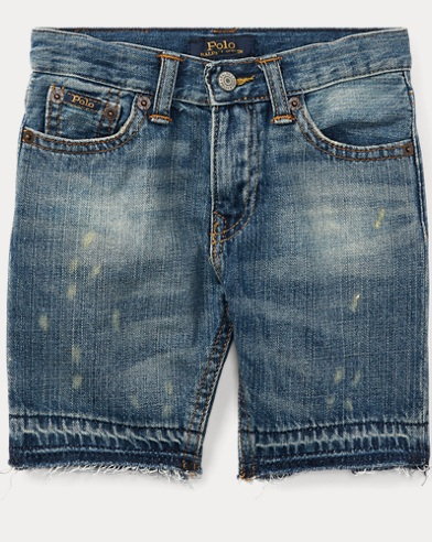 Distressed Cotton Denim Short