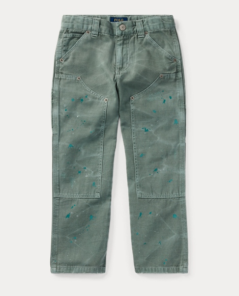 Distressed Cotton Twill Pant