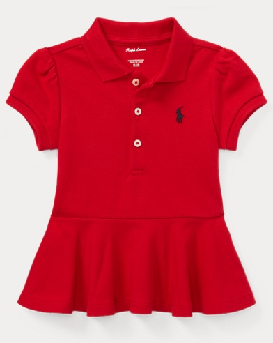 Cotton Mesh Peplum Polo Shirt