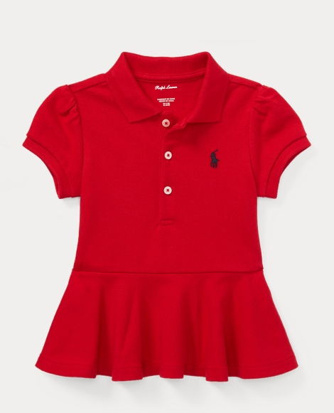 Cotton Mesh Peplum Polo Shirt