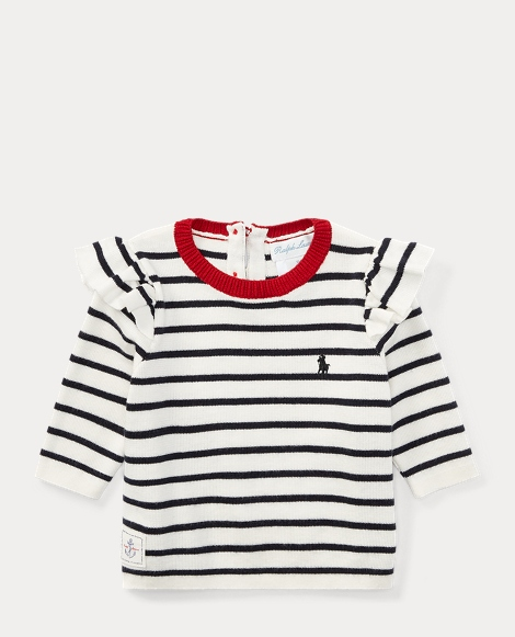Ruffled Striped Cotton Sweater