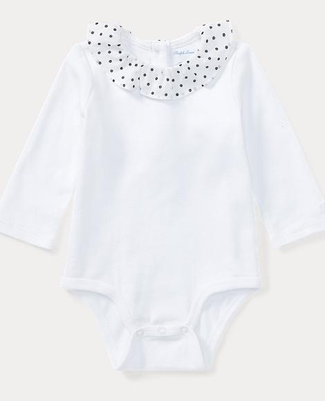 Polka-Dot-Collar Bodysuit