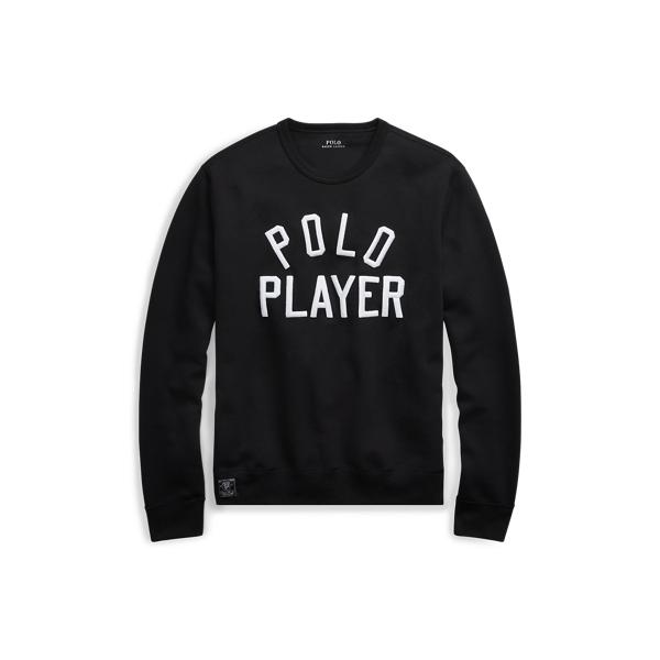 Ralph Lauren Double-Knit Graphic Sweatshirt Polo Black Xs