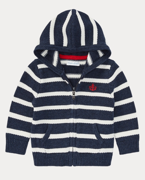 Striped Cotton Full-Zip Hoodie