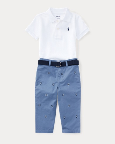 Cotton Polo, Belt & Chino Set