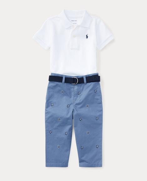 Cotton Polo, Belt & Chino Set